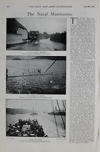 1900 PRINT NAVAL MANOEUVRES CHANNEL SQUADRON BATHING PORTLAND SAILORS WEYMOUTH