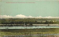 Postcard Cascade Mountains and Snohomish River from Everett WA