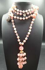 Vintage Pink Tassel Pendant Necklace 1960's