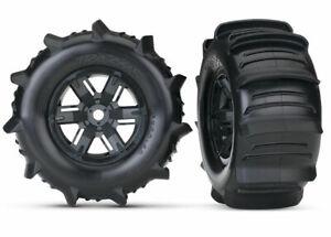 "Traxxas 4.0/5.5"" 8S X-Maxx Paddles Tyres on Black Rims - Glued Wheels 2Pcs"