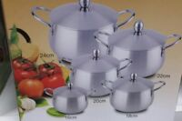 OVAL POT  SET ALUMINIUM CASSEROLE COOKING PAN SAUCEPAN 10PC SET