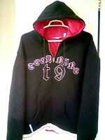 TECHNINE Mens 2XL Thick Quilted Insulated Black & Red Full Zip Hoodie Jacket