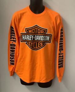 Harley Davidson Mens Bar & Shield Long Sleeve T-Shirt Safety Orange 402902020