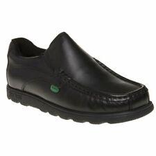 New Boys Kickers Black Fragma Slip Leather Shoes On