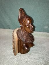 """vintage handcarved African woman bust sculpture very detailed 9"""""""