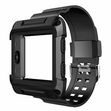 BLACK ARMOR New Replacement Large Wristband Band Strap + Frame For FITBIT BLAZE