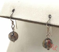 Sterling Silver Vintage 925 Round Dangle Forest Jasper Earrings (1.9g) - 561766