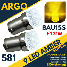 2 x AMBER 9 LED 581 PY21W BAU15S 12V REAR INDICATOR LIGHT BULBS YELLOW