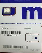 MetroPCS TRIPLE SIM CARD Fits: Nano+Micro+Regular USE TMOBILE NETWORK.