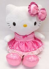 "Hello Kitty Ballerina Pink Satin Tutu Polka Dots 14"" Plush Doll  Sanrio"