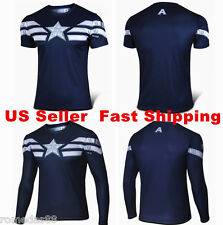 2015 Captain America Winter Soldier Tee Short Long Sleeve T-Shirt Sports Jersey