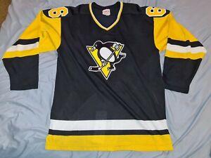 MARIO LEMIEUX #66 Pittsburgh Penguins Sandow Sporting Knit Hockey Jersey Large