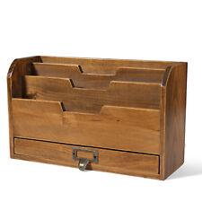 3 Tier Wooden Desk Organizer Rustic Slot Sorter Shelf Holder With Drawer