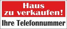 """Hochwertiges wetterfestes Banner mit Ösen """"Haus zu verkaufen"""" 60x200cm"""