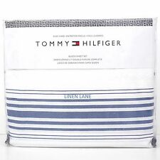 TOMMY HILFIGER Nautical QUEEN SHEET SET NWT 4pc Navy Blue White STRIPE