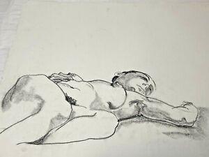 Vtg Female Nude Sketch Chalk Graphite Drawing William Anton Kleiner  Unsigned #3