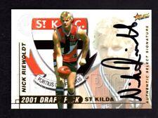 2001 Select AFL Authentic Draft Pick Signature DS1 Nick Riewoldt - St. Kilda