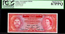 "BELIZE P35a ""QUEEN ELIZABETH II' $5 1975 PCGS 67PPQ"