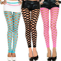 Stretchy Punk Rave Neon Color Pothole Cutout Shredded Holes Leggings Tight Pants
