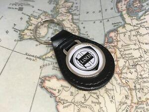 Lancia Bedruckt Qualität Schwarz Echtleder Schlüsselanhänger