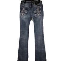 """MISS ME Jeans Bling Sequins Fleur De Lis Signature Boot Cut Sz25 (27""""x30"""")"""