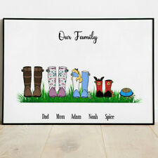Personalised Rainboots Family Picture Print Poster Wellies Wellingtons New Home