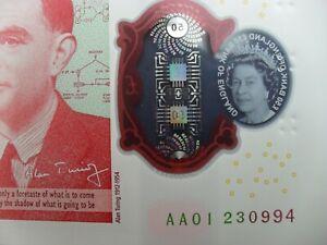 SUPERB AA01 FIRST RUN 2021 SARAH JOHN (TURING/GB/ENGLAND) £50 BANKNOTE aUNC/UNC