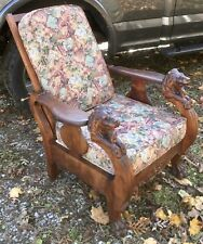 Mahogany Morris Chair With Lions