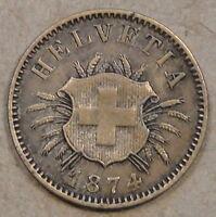 Switzerland 1874 Five Rappen Mid Grade as Pictured