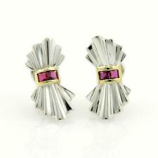 Vintage Tiffany & Co. Rubies 925 Silver & 18k Yellow Gold Bow Clip Earrings