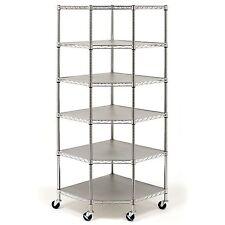 BRAND NEW Heavy Duty Wire Steel 6-Tier Corner Shelf Garage Storage Shelving Rack