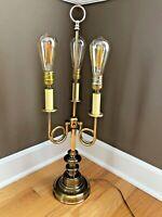"""Vtg 3 Arm French Horn Brass Candlestick Bouillotte Lamp 28"""""""