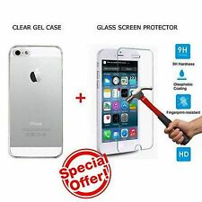 Fit For Apple iPhone 5 5s SE Case Cover Clear + Genuine Tempered Glass Protector