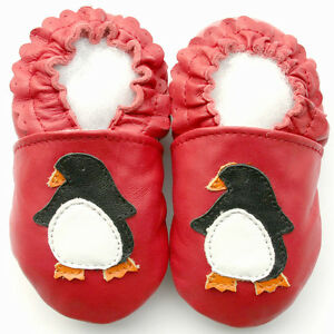 Littleoneshoes Soft Sole Leather Baby Infant Kids Children PenguinRed Shoes 0-6M
