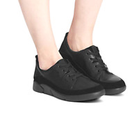 M&S COLLECTION  Black Leather Lace-up Trainers UK 6 / EUR 39.5