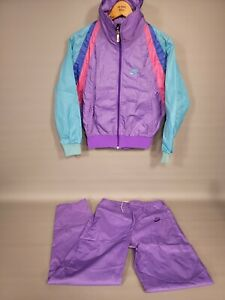 Vtg 80's Women's Blue Tag NIKE Purple Pink Teal Nylon Track Jog Suit Size Small