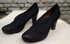 Nicole Mazy black leather bootie career heel pumps size 8M