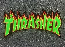 Thrasher Flame Logo Skateboard Sticker Medium 6in green si