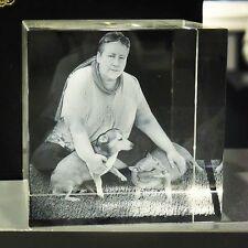 C80 Foto in 3D Glas Gravur Geschenkidee Laserfoto Weihnachten Hund Glas NEU Kind