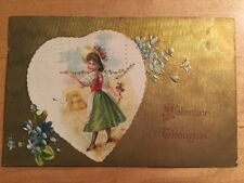 ANTIQUE Vintage VALENTINE POSTCARD Young Maiden Heart Embossed GOLD Germany
