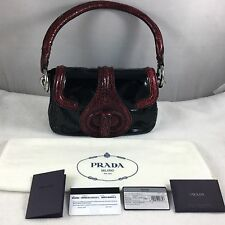 PRADA Runway Burgundy Croc & Black Patent Leather Bag Leather Lined