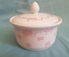 "Lovely Vintage/Rare Laura Ashley Ribbons 3"" Tall Bathroom Lidded Storage Jar-GC"