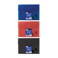 A4 Foolscap 6 Pocket Document Wallet Organiser Expanding Files, Red Blue Black