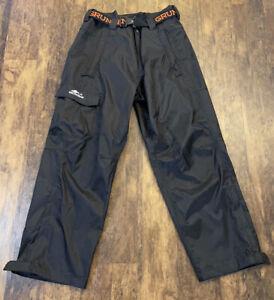 Grundens Black Nylon Fishing Belted Rainproof Weather Watch Pants Mens XXL EUC
