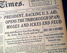 TRIBOROUGH BRIDGE RFK Franklin D. Roosevelt Dedication OPENS 1936 NYC Newspaper