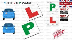 4 X PLATES LEARNING (L & P ) MAGNETIC NEW CAR PLATES EXTERIOR SECURE AND SAFE
