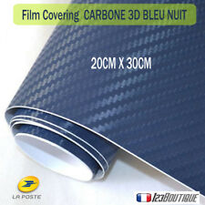 Carbone 3d bleu nuit film covering auto moto deco adhesif thermoformable sticker