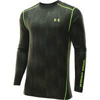 under armour mens evo coldgear fitted crew long sleeve shirt rifle green yellow