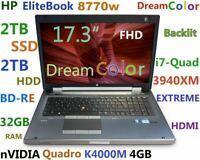 "# HP 8770w 17.3"" DreamColor i7-EXTREME (BDRE 2TB SSD 2TB 32GB) K4000M 4GB + BAG"