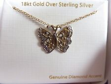 Butterfly Necklace 18K Gold Over Sterling Silver Pendant Diamond Accent NEW